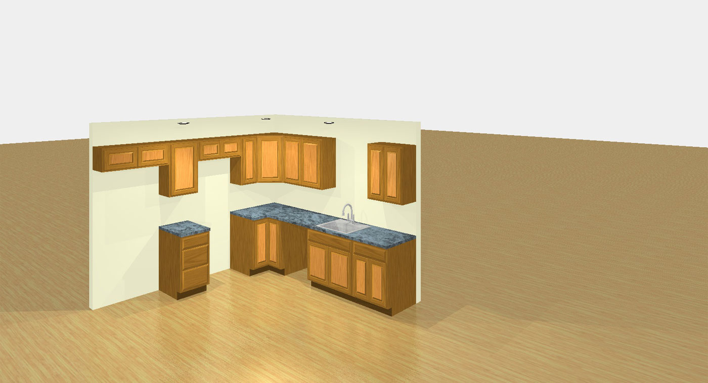 Sample kitchen L shape 3D C and J Wood Design